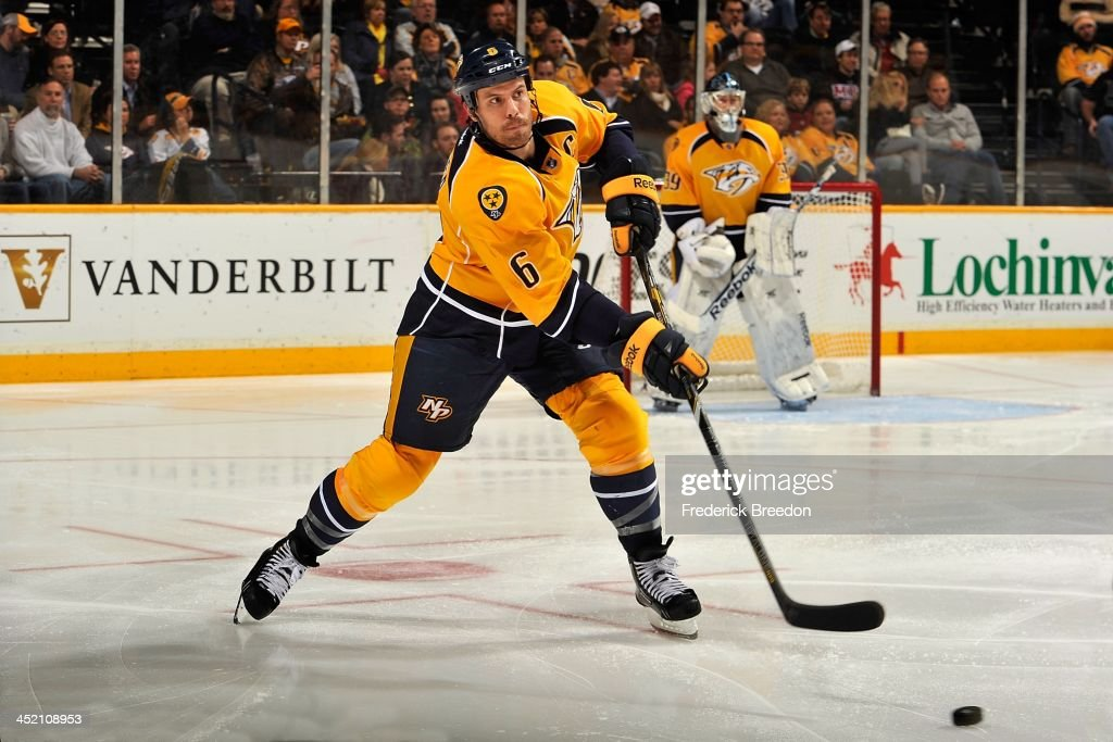 <a gi-track='captionPersonalityLinkClicked' href=/galleries/search?phrase=Shea+Weber&family=editorial&specificpeople=554412 ng-click='$event.stopPropagation()'>Shea Weber</a> #6 of the Nashville Predators skates against the Phoenix Coyotes at Bridgestone Arena on November 25, 2013 in Nashville, Tennessee.