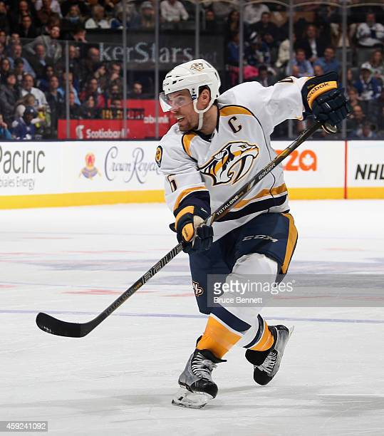 Shea Weber of the Nashville Predators skates against the Toronto Maple Leafs at the Air Canada Centre on November 18 2014 in Toronto Canada The...