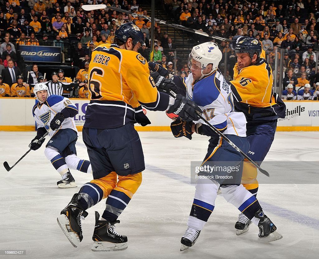 <a gi-track='captionPersonalityLinkClicked' href=/galleries/search?phrase=Shea+Weber&family=editorial&specificpeople=554412 ng-click='$event.stopPropagation()'>Shea Weber</a> #6 of the Nashville Predators stands <a gi-track='captionPersonalityLinkClicked' href=/galleries/search?phrase=Vladimir+Sobotka&family=editorial&specificpeople=716736 ng-click='$event.stopPropagation()'>Vladimir Sobotka</a> #17 of the St Louis Blues up at the blue line at the Bridgestone Arena on January 21, 2013 in Nashville, Tennessee.