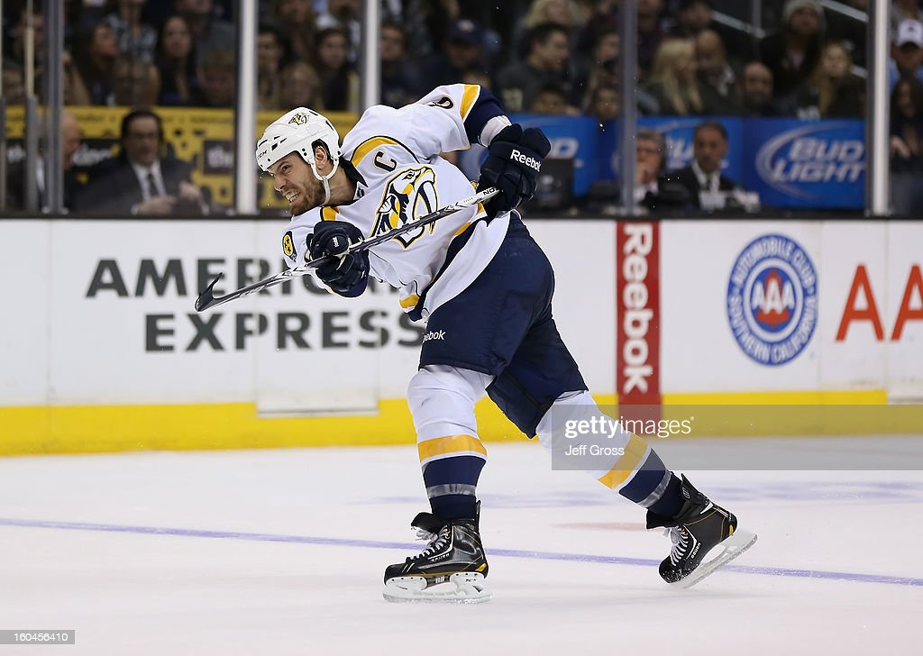 <a gi-track='captionPersonalityLinkClicked' href=/galleries/search?phrase=Shea+Weber&family=editorial&specificpeople=554412 ng-click='$event.stopPropagation()'>Shea Weber</a> #6 of the Nashville Predators takes a shot against the Los Angeles Kings in the third period at Staples Center on January 31, 2013 in Los Angeles, California. The Predators defeated the Kings 2-1 in a shootout.