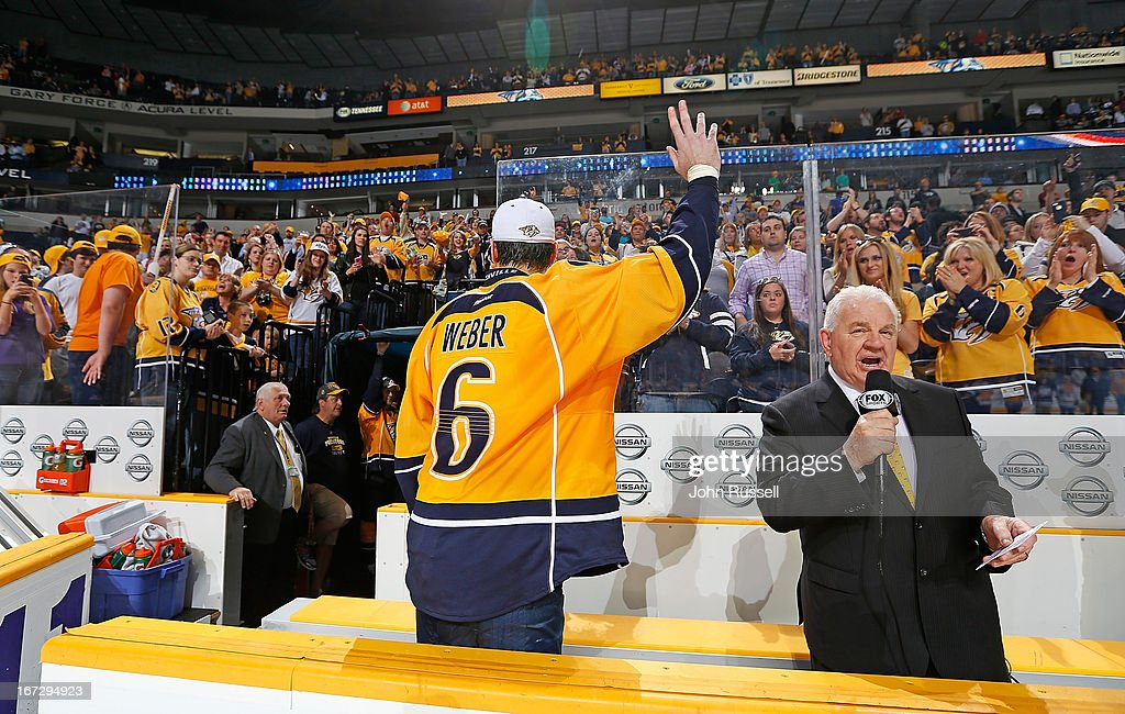 <a gi-track='captionPersonalityLinkClicked' href=/galleries/search?phrase=Shea+Weber&family=editorial&specificpeople=554412 ng-click='$event.stopPropagation()'>Shea Weber</a> #6 of the Nashville Predators waves and thanks the fans for their support follow a win against the Calgary Flames during an NHL game at the Bridgestone Arena on April 23, 2013 in Nashville, Tennessee.