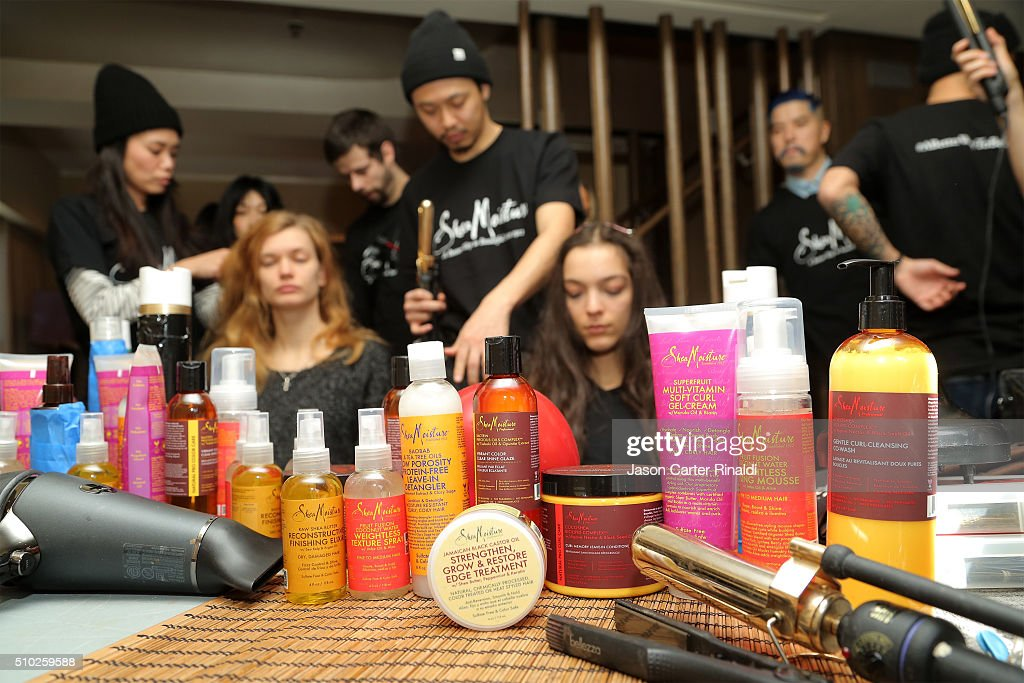 SheaMoisture products on display at SheaMoisture at Tracy Reese F/W 2016 NYFW at Roxy Hotel on February 14, 2016 in New York City.
