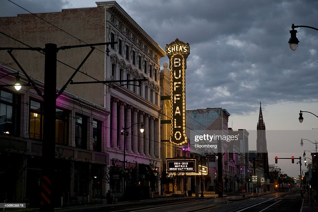 Shea's Performing Art Center stands along Main Street in Buffalo New York US on Wednesday Sept 24 2014 The Federal Reserve Bank of New York's empire...