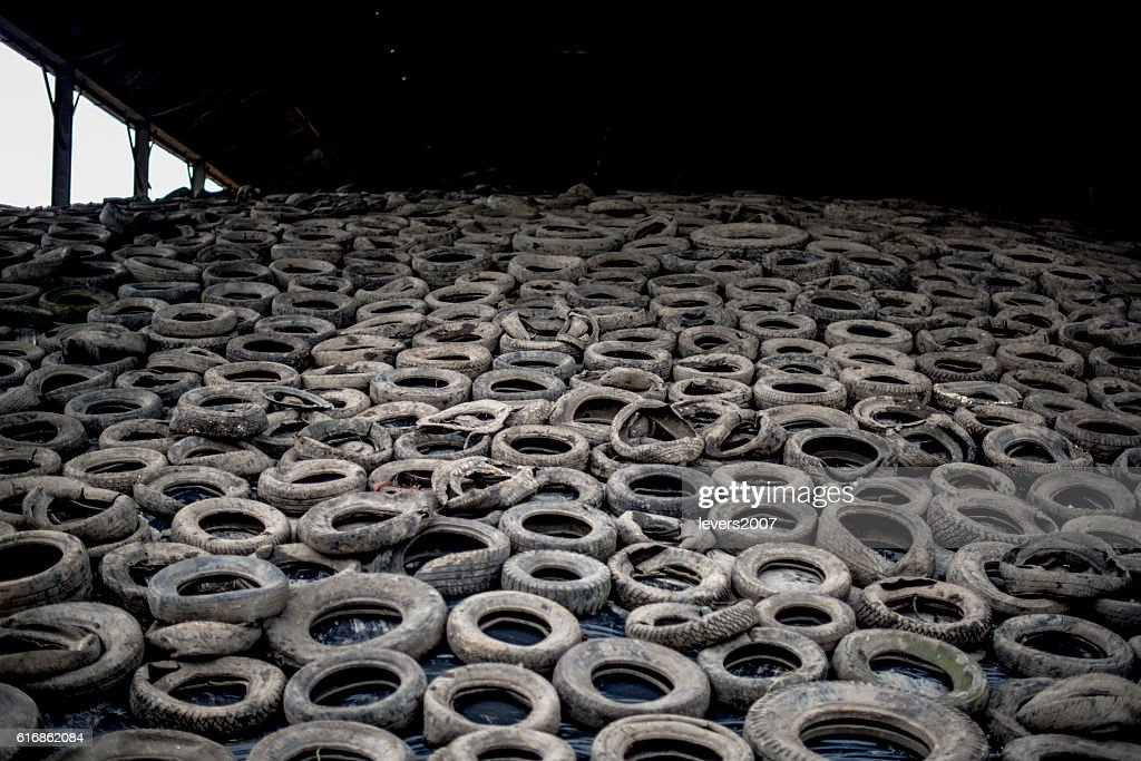 shed of silage covered in old tyres : Stock Photo
