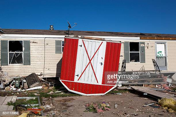 A Shed Stands Upside Down By Mobile Home In The Pinaire Park That