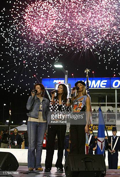 SHeDAISY during Country group SHeDAISY sings the National Anthem prior to The Budweiser Shootout at Daytona at Daytona International Speedway in...