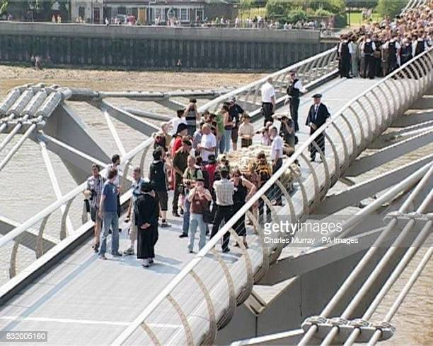 Sheep being herded across the Millennium Bridge in London to mark the launch of the London Architecture Biennale a celebration of modern building...