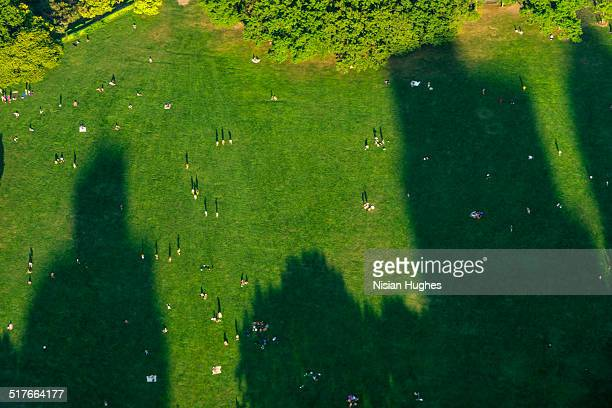 Sheep Meadow in Central Park NYC looking down