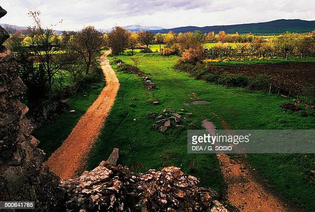 Sheep trail that crosses the Saepinum archaeological site Saepinum Molise Italy