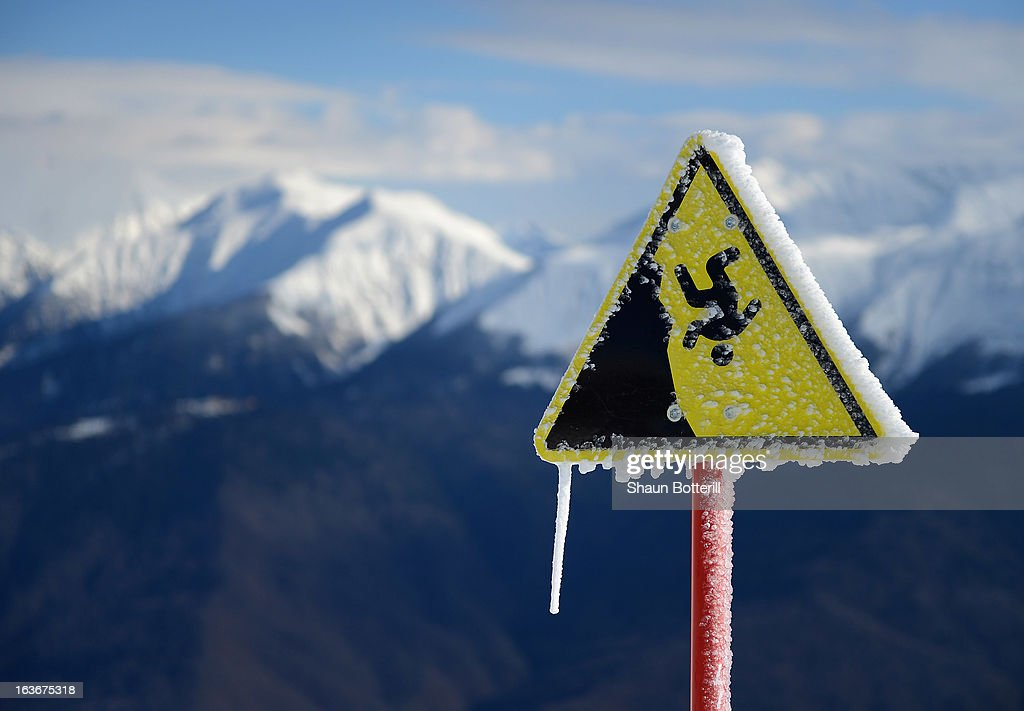 A sheer drop warning sign is seen at Rosa Khutor Alpine Center on March 14, 2013 in Sochi, Russia.