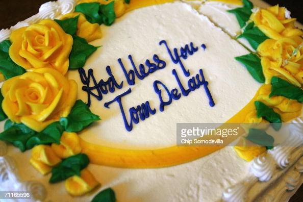 A sheet cake is laid out for an 'open house' in former US House of Representatives majority leader Tom Delay's office in the Cannon House Office...
