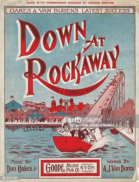 Sheet music cover features scene of boardwalk amusements at Rockaway Beach New York NY 1904 Goode Music Publishing Company Lithograph sheet music...