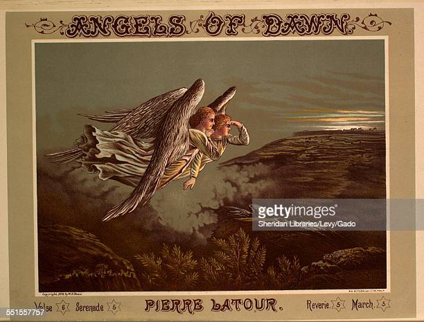Sheet music cover image of 'Angels of Dawn' by Pierre Latour with lithographic or engraving notes reading 'WH Butler Agt Lithograph Phila Wm F Jones...