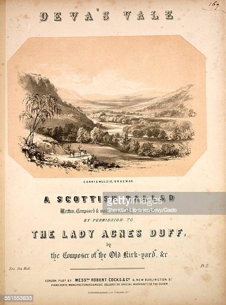 Sheet music cover image of 'Deva's Vale A Scottish Ballad' by Robert Taylor with lithographic or engraving notes reading ' Stannard Dixon Lithograph...