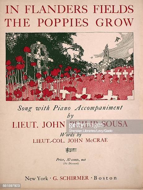 Sheet music cover image of 'In Flanders Fields The Poppies Grow Song With Piano Accompaniment' by Lieut Col John McCrae and John Philip Sousa New...