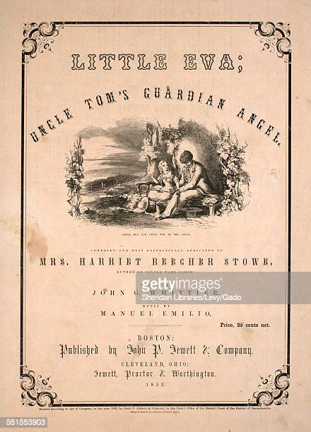 Sheet music cover image of 'Little Eva Uncle Tom's Guardian Angel' by John G Whittier and Manuel Emilio with lithographic or engraving notes reading...