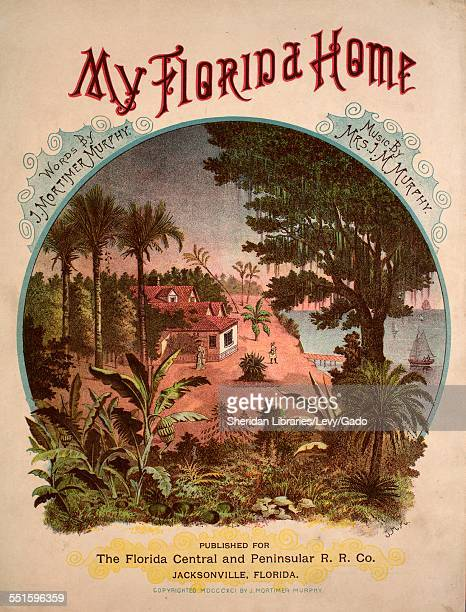 Sheet music cover image of 'My Florida Home' by J Mortimer Murphy and Mrs J M Murphy with lithographic or engraving notes reading 'JMM back cover...