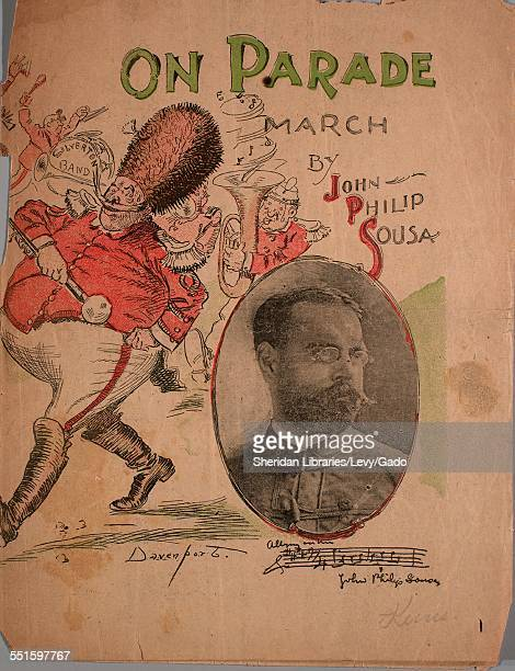 Sheet music cover image of 'On Parade March' by John Philip Sousa with lithographic or engraving notes reading 'Davenport unattributed photo of...
