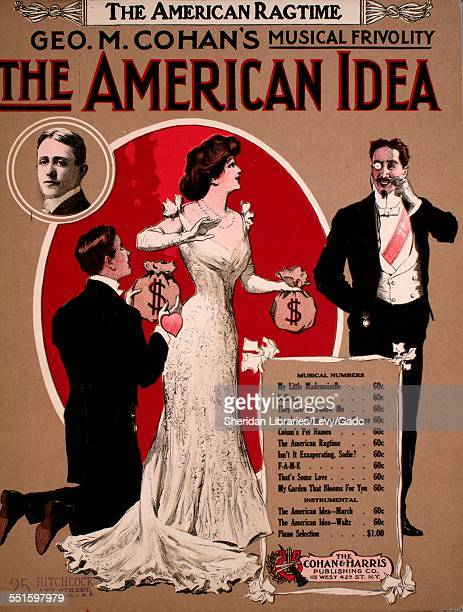 Sheet music cover image of 'The American Ragtime' by George M Cohan New York New York 1908