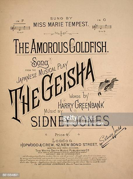 Sheet music cover image of 'The Amorous Goldfish Song From the Japanese Musical Play The Geisha' by Harry Greenbank and Sidney Jones London England...