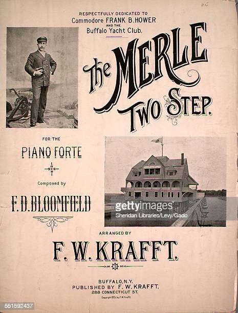 Sheet music cover image of 'The Merle Two Step for the Piano Forte' by F D Bloomfield and F W Krafft with lithographic or engraving notes reading...