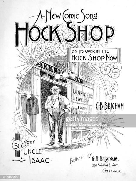Sheet music cover image of the song 'A New Comic Song Hock Shop' with original authorship notes reading 'By GB Brigham' United States 1894 The...