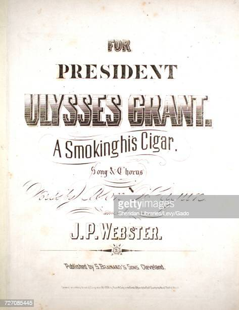 Sheet music cover image of the song 'A Smoking His Cigar Song and Chorus' with original authorship notes reading 'Words By Ason O'Fagun Music By JP...