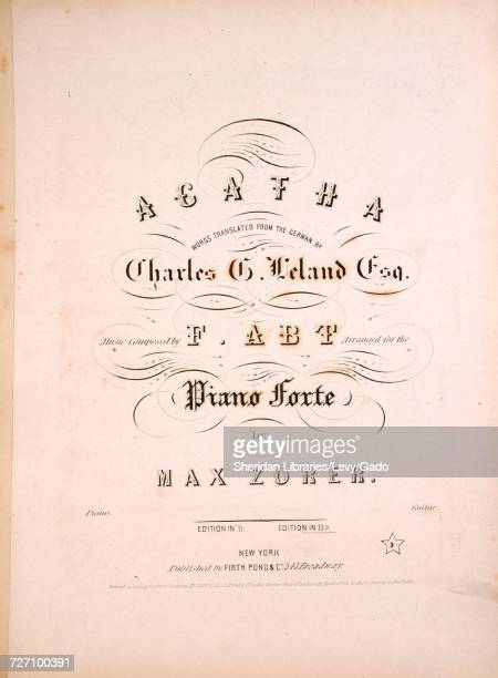 Sheet music cover image of the song 'Agatha ' with original authorship notes reading 'Words Translated From the German By Charles G Leland Esq Music...