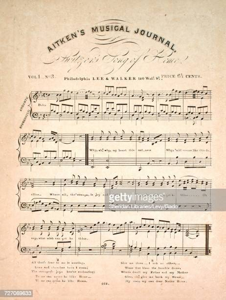 Sheet music cover image of the song 'Aitken's Musical Journal Switzer's Song of Home' with original authorship notes reading 'na' United States 1900...