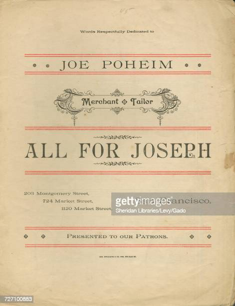 Sheet music cover image of the song 'All For Joseph' with original authorship notes reading 'Arr from 'The Flowers That Bloom in Spring' in the...