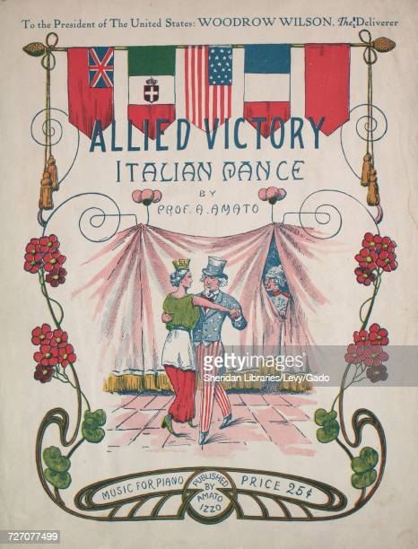 Sheet music cover image of the song 'Allied Victory Italian Dance' with original authorship notes reading 'By Prof A Amato' 1917 The publisher is...