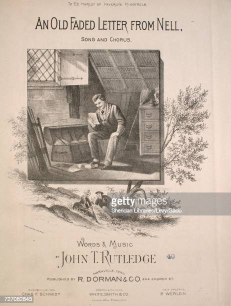Sheet music cover image of the song 'An Old Faded Letter From Nell Song and Chorus' with original authorship notes reading 'Words and Music by John T...