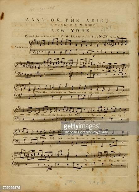 Sheet music cover image of the song 'Anna or The Adieu' with original authorship notes reading 'Composed by Mr Hook' United States 1797 The publisher...