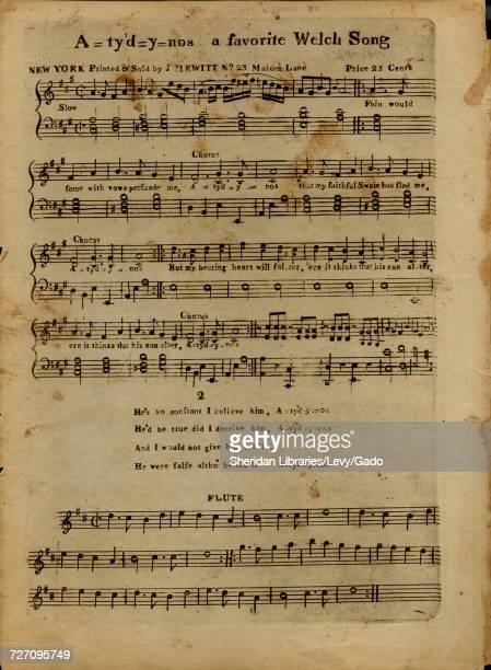Sheet music cover image of the song 'A=ty'd=y=nos a favorite Welch Song' with original authorship notes reading 'na' United States 1799 The publisher...