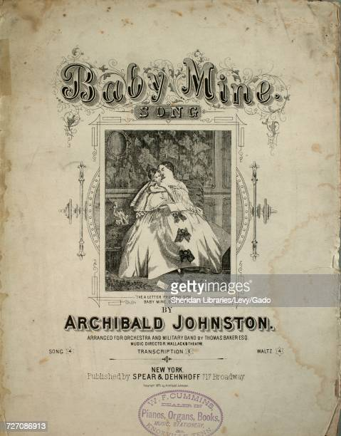 Sheet music cover image of the song 'Baby Mine Song' with original authorship notes reading 'By Archibald Johnston' United States 1875 The publisher...