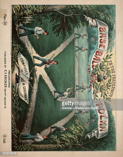 Sheet music cover image of the song 'Baseball Polka' with original authorship notes reading 'Composed by Jas M Goodman' United States 1867 The...