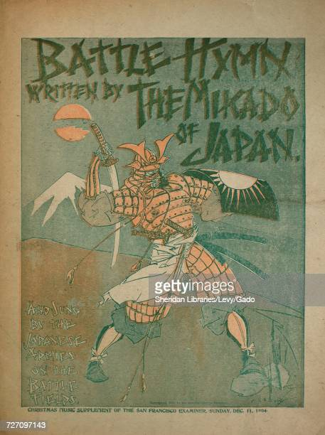 Sheet music cover image of the song 'Battle Hymn' with original authorship notes reading 'Written by The Mikado of Japan' 1904 The publisher is...