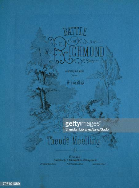 Sheet music cover image of the song 'Battle of Richmond A Descriptive Piece' with original authorship notes reading 'By Theode Moelling' United...