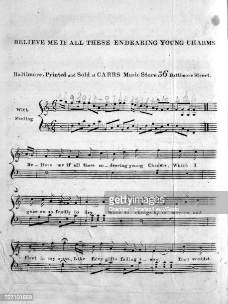 Sheet music cover image of the song 'Believe Me If All These Endearing Young Charms' with original authorship notes reading 'na' United States 1900...