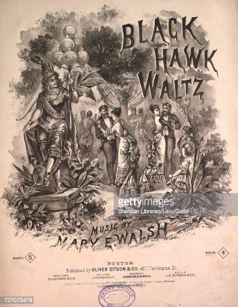 Sheet music cover image of the song 'Black Hawk Waltz' with original authorship notes reading 'music by Mary E Walsh' United States 1877 The...