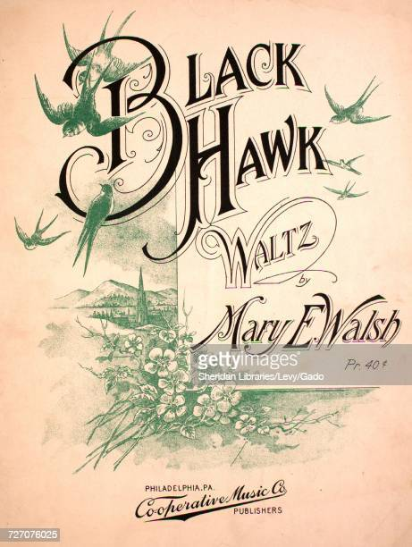 Sheet music cover image of the song 'Black Hawk Waltz' with original authorship notes reading 'by Mary E Walsh' United States 1900 The publisher is...