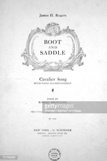 Sheet music cover image of the song 'Boot and Saddle Cavalier Song' with original authorship notes reading 'Poem by Robert Browning' United States...