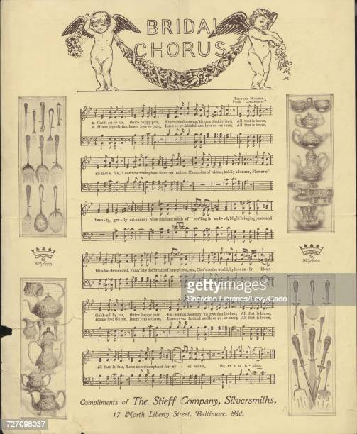 Sheet music cover image of the song 'Bridal Chorus' with original authorship notes reading 'Richard Wagner From 'Lohengrin'' United States 1900 The...