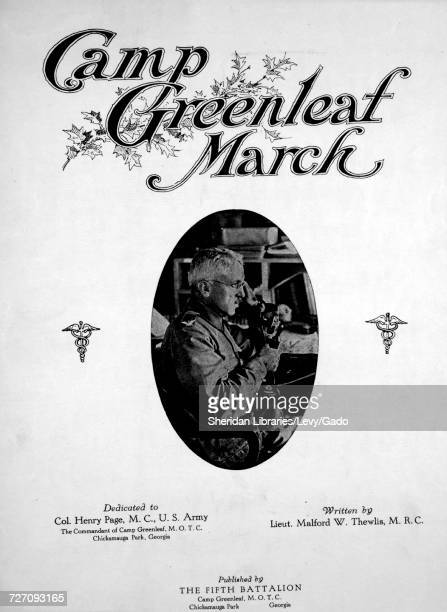Sheet music cover image of the song 'Camp Greenleaf March' with original authorship notes reading 'Written by Lieut Malford W Thewlis MRC' 1918 The...