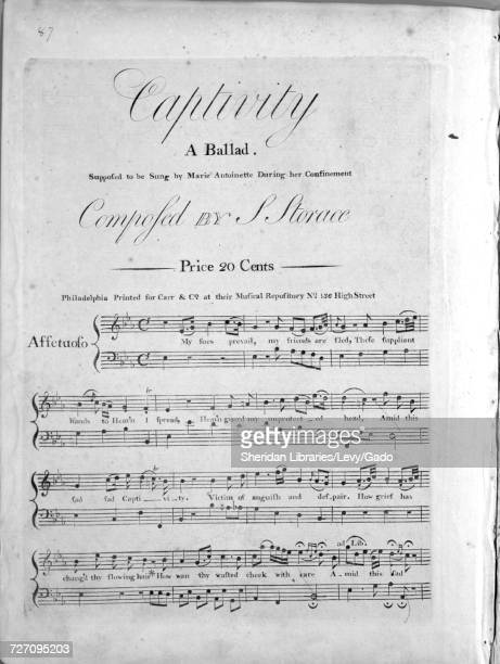 Sheet music cover image of the song 'Captivity A Ballad' with original authorship notes reading 'Composed by S Storace' United States 1900 The...