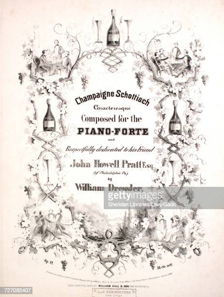 Sheet music cover image of the song 'Champagne Schottisch Caracteresque' with original authorship notes reading 'Composed for the PianoForte by...
