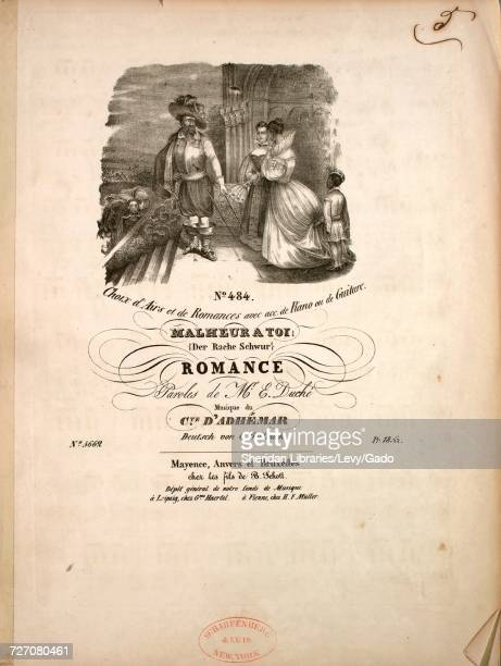 Sheet music cover image of the song 'Choix d'Airs et de Romances avec acc de Piano ou de Guitar Malheuratoi Romance' with original authorship notes...
