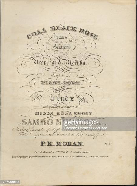 Sheet music cover image of the song 'Coal Black Rose Tema veried like de big Autors of ' with original authorship notes reading 'Compose for...