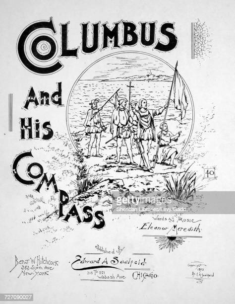 Sheet music cover image of the song 'Columbus and His Compass' with original authorship notes reading 'Words and Music by Eleanor Meredith Arr by JA...