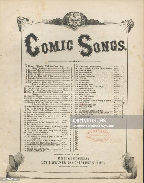 Sheet music cover image of the song 'Comic Songs' with original authorship notes reading '' United States 1836 The publisher is listed as 'Lee and...